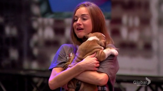 Big Brother Canada 4 - Nikki Grahame cuddles a puppy