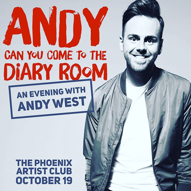 Poster for Andy West's one-man show Andy, Can You Come To The Diary Room