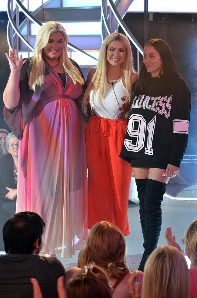 Big Brother 2017 - celebrity guests Gemma Collins, Nicola McLean and Marnie Simpson leave the house in live show