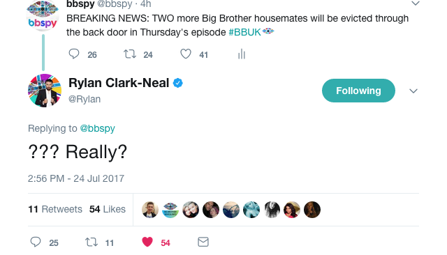 Big Brother 2017 Rylan tweet