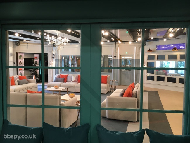 Celebrity Big Brother summer 2017 - bbspy exclusive launch night house tour: View of the lounge from the Blossom Suite bedroom window