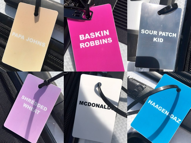 Celebrity Big Brother summer 2017 - exclusive launch night house tour: Luggage tags showing the housemates' code names