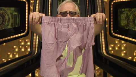 Celebrity Big Brother 14 summer 2014 - Leslie Jordan in Diary Room with underwear shredded by Angelique 'Frenchy' Morgan